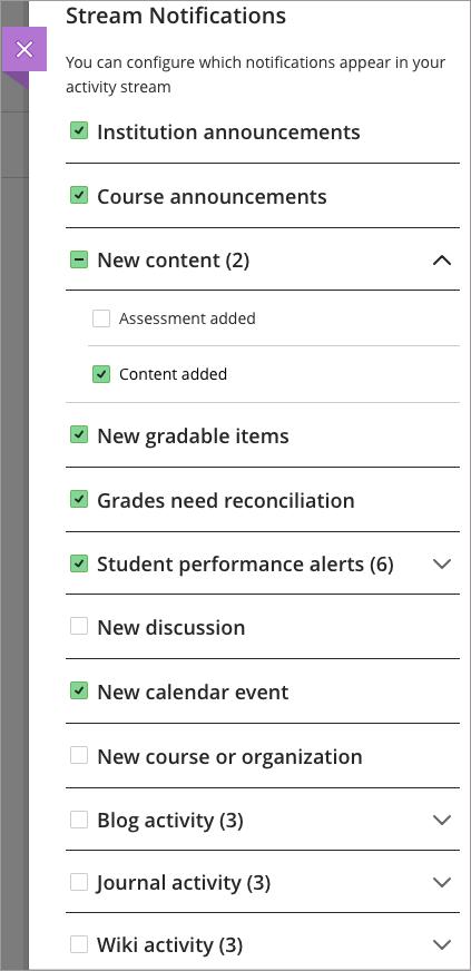 Notification Settings | Blackboard Help