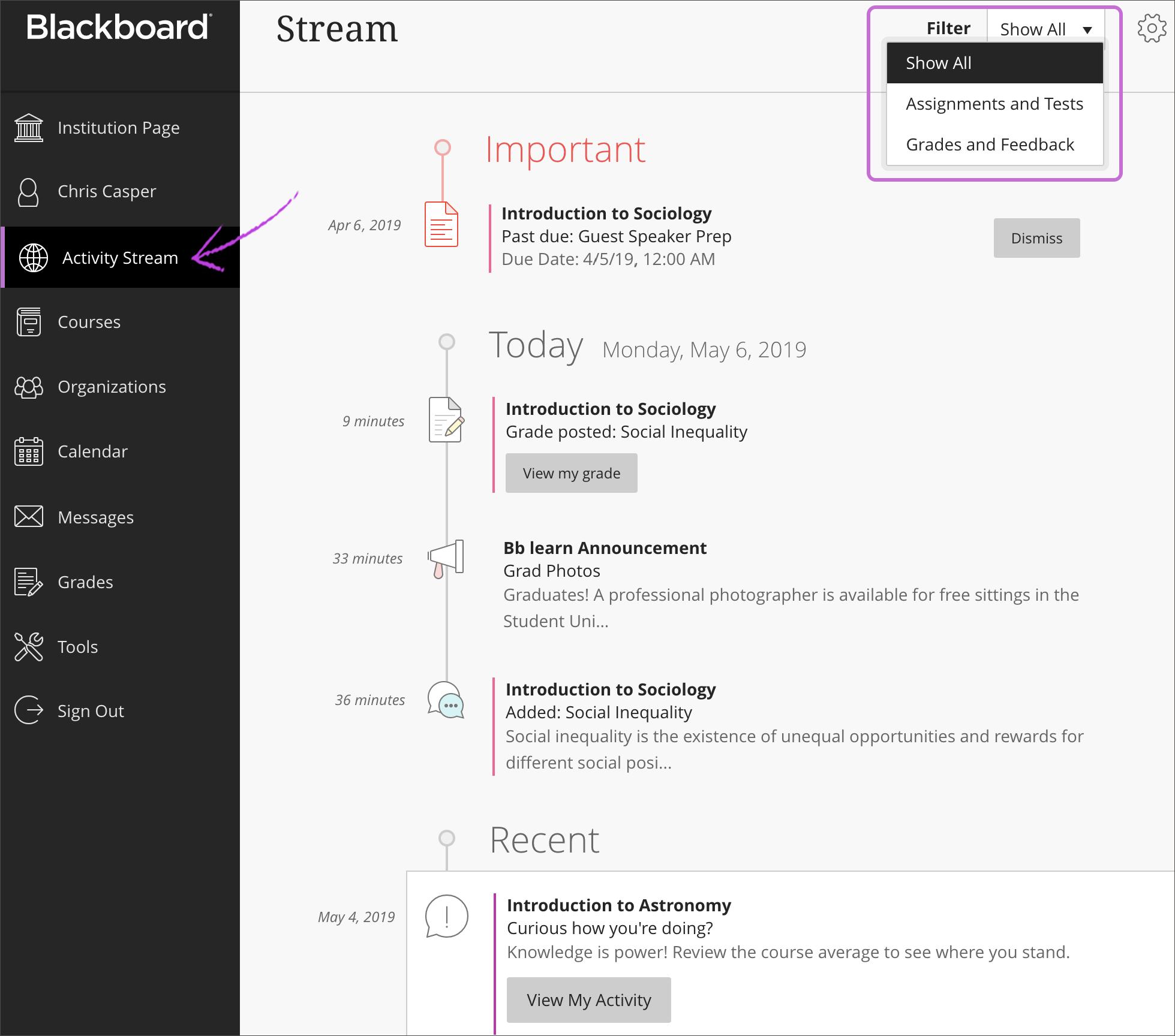 Activity Stream   Blackboard Help