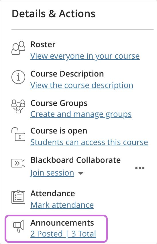 Announcements | Blackboard Help
