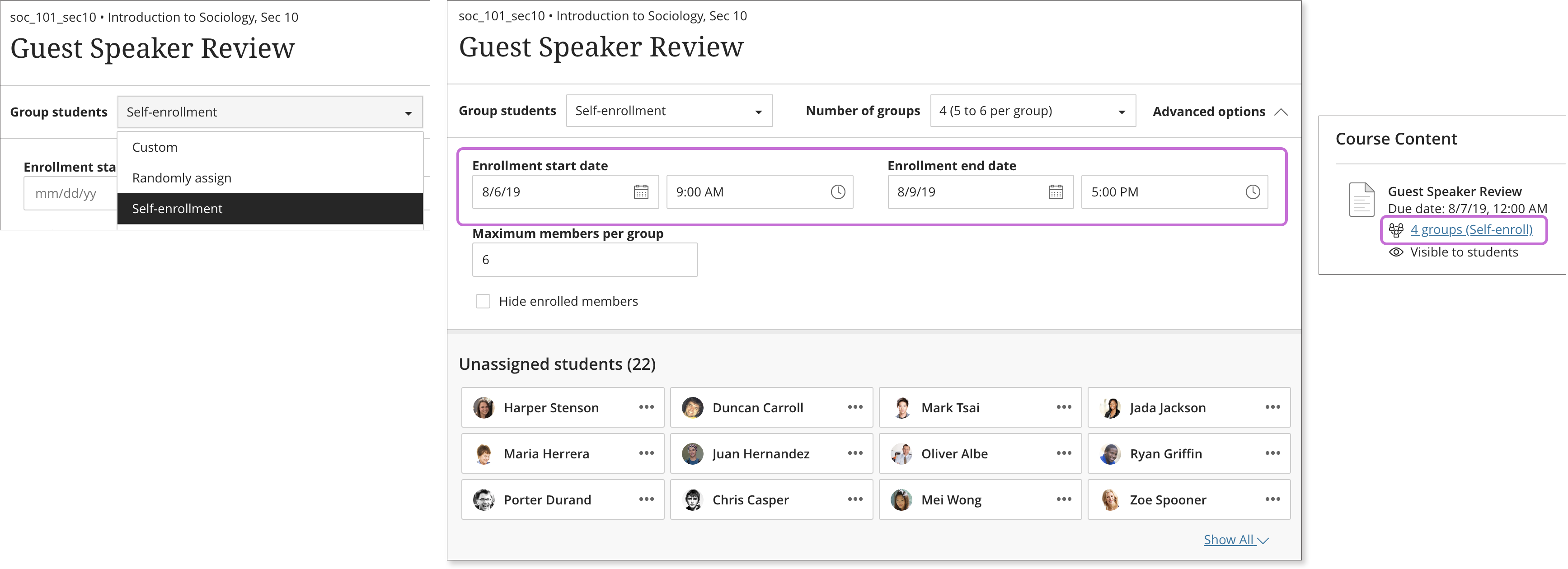 Screenshot of the Instructor view of the group self-enrollment feature