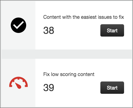 Close-up view of the two options to filter the results of the report, including Content with the easiest issues to fix and a Start button below it and Fix low scoring content with a Start button below it.