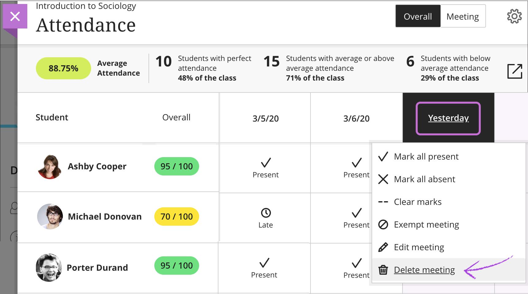 Attendance Blackboard Help