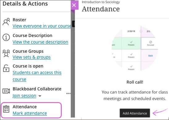 Screenshot of activating Attendance
