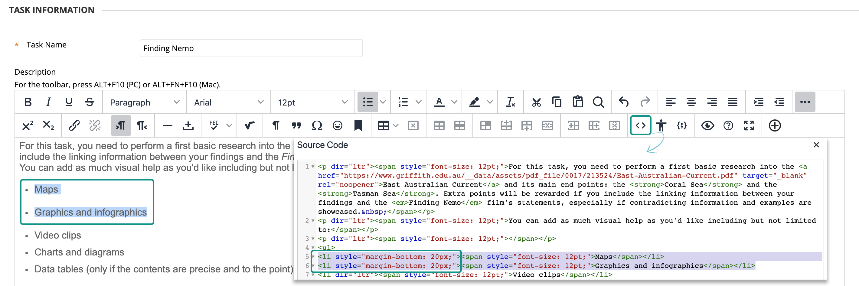 Content editor example for spacing list items via code view