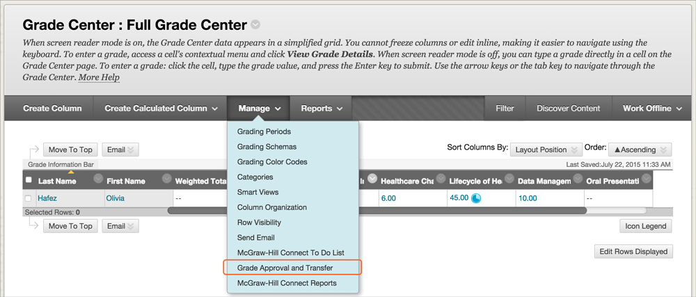 """""""Grade Center : Full Grade Center"""" page opened with the """"Manage"""" drop-down menu shown and the """"Grade Approval and Transfer"""" item highlighted"""