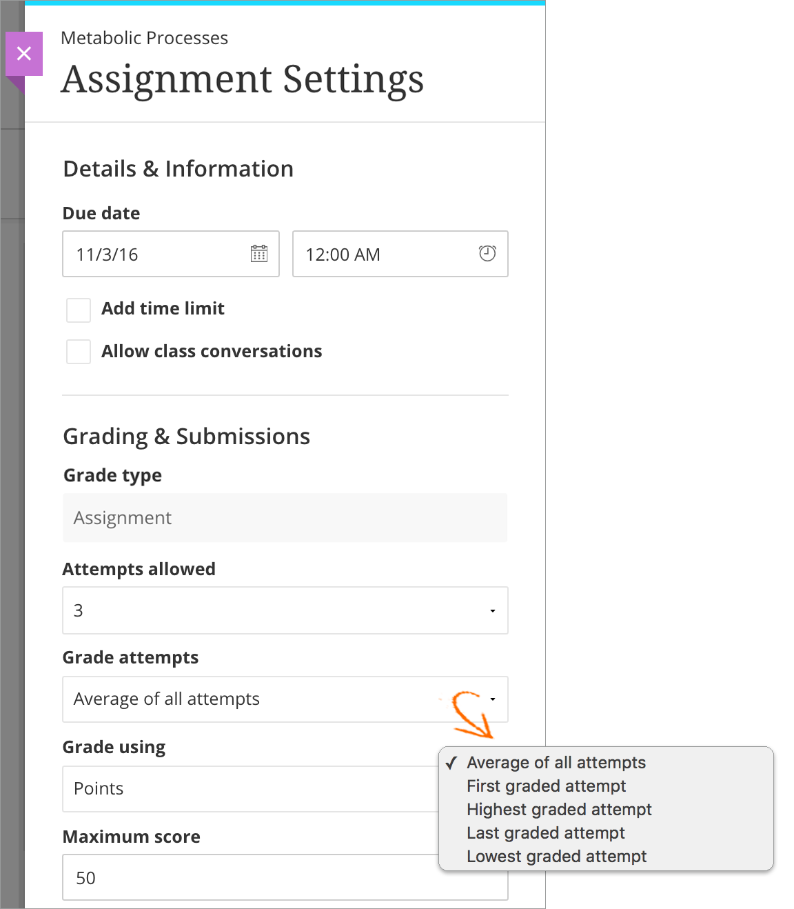 multiple assignment attempts blackboard help ultra assign instructor choose multiple attempts png